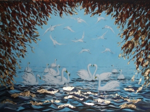 Wild Swans at Coole by http://kaycullenpainting.com